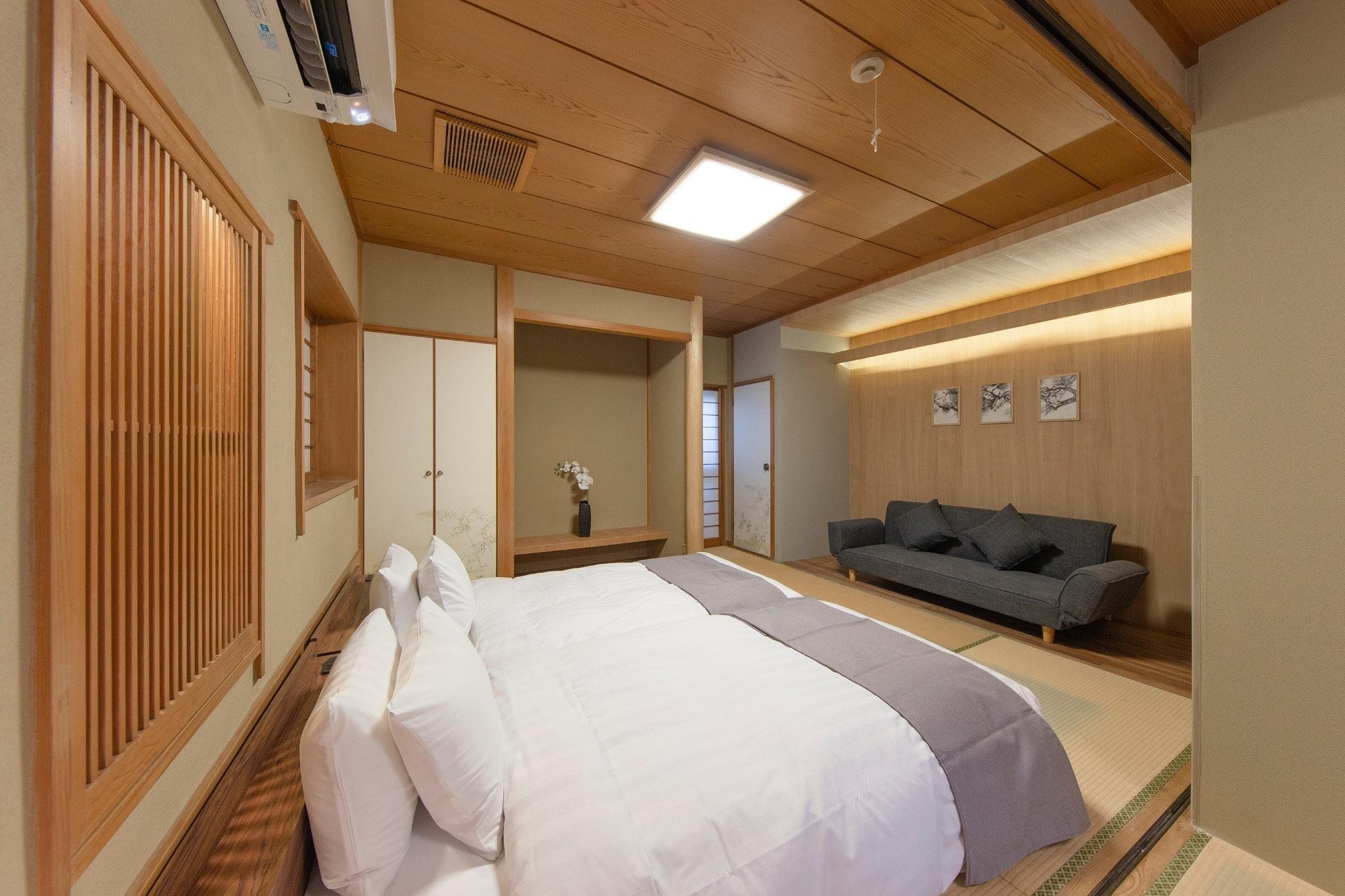 R1.東京新宿中心地.広々とした和風モダンお部屋.観光にも空港からも便利な立地/WiFi完備