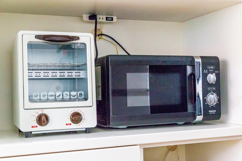 電子レンジ・トースター・ホットプレート・炊飯器完備