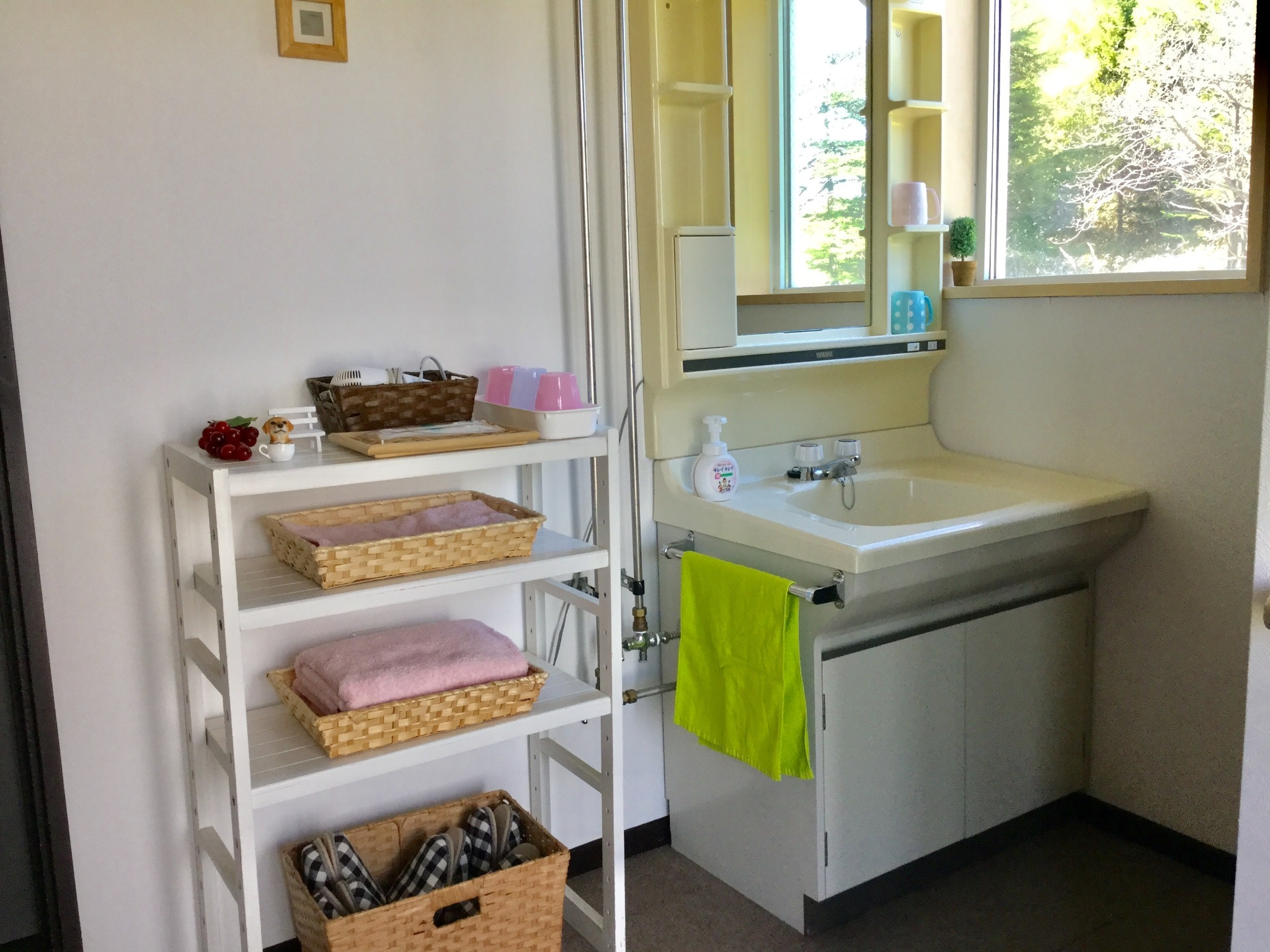【Washstand and Amenity】 Hair dryer/Toothbrush/Towels and bath towels.