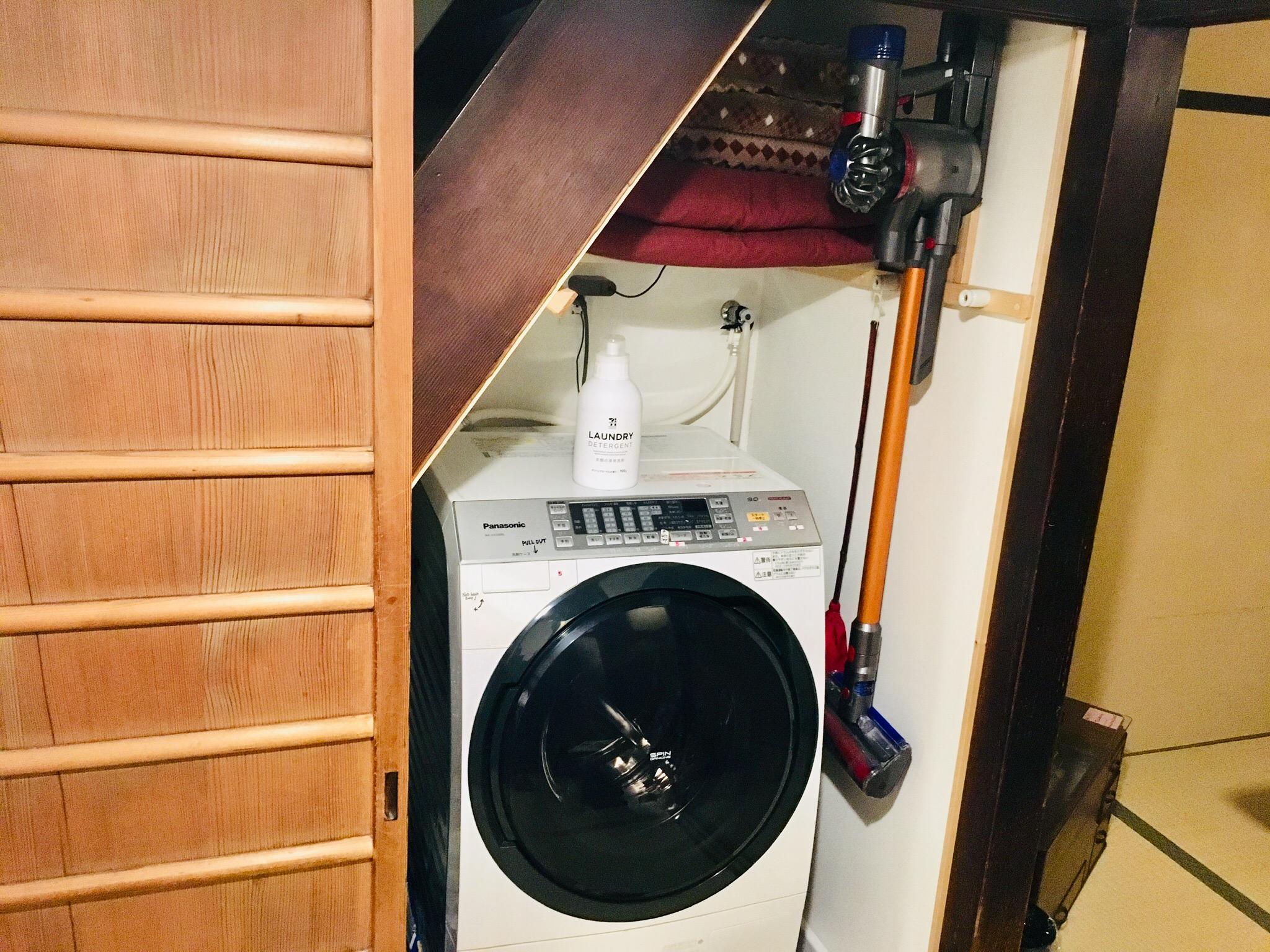 洗濯乾燥機(洗濯用洗剤)や掃除機、アイロン等完備