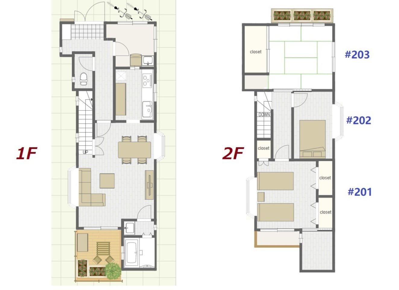 【Kanae House's Layout / 型 / 間取り図】