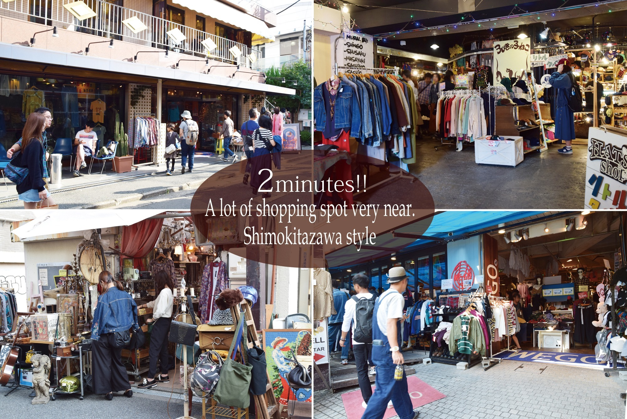 There are a lot of second-hand clothing stores and vintage shops in the vicinity. Just walking is fun!