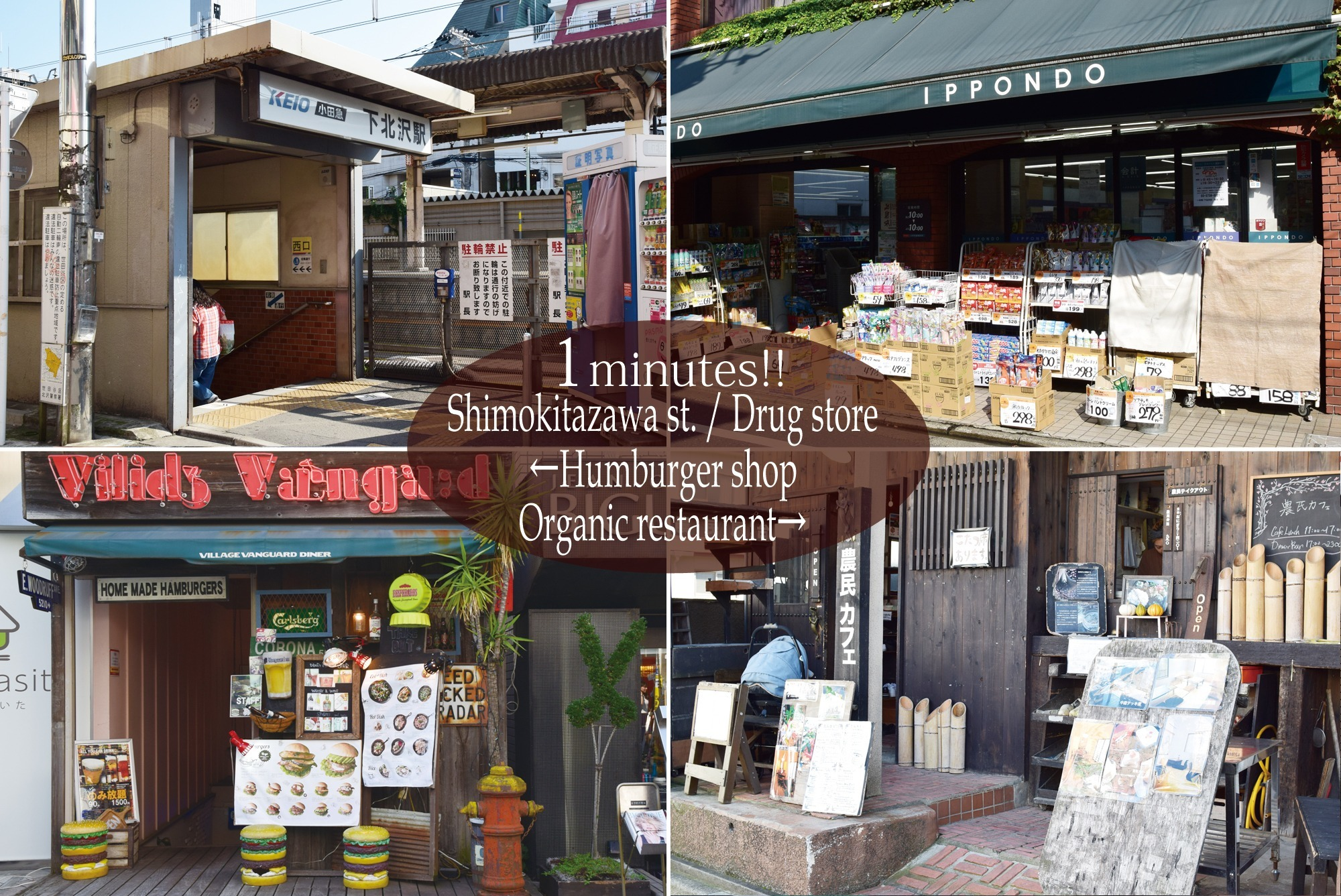 1 minute walk from Shimokitazawa Station West Exit! There are many restaurants and drug stores nearby.