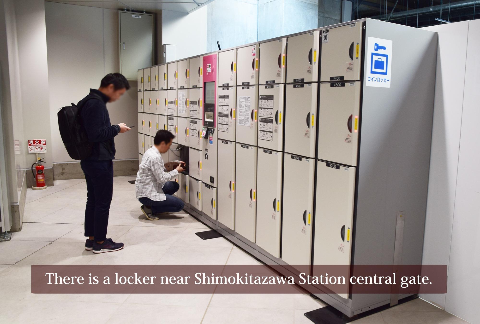 There is a big coin locker at the shimokitazawa station.