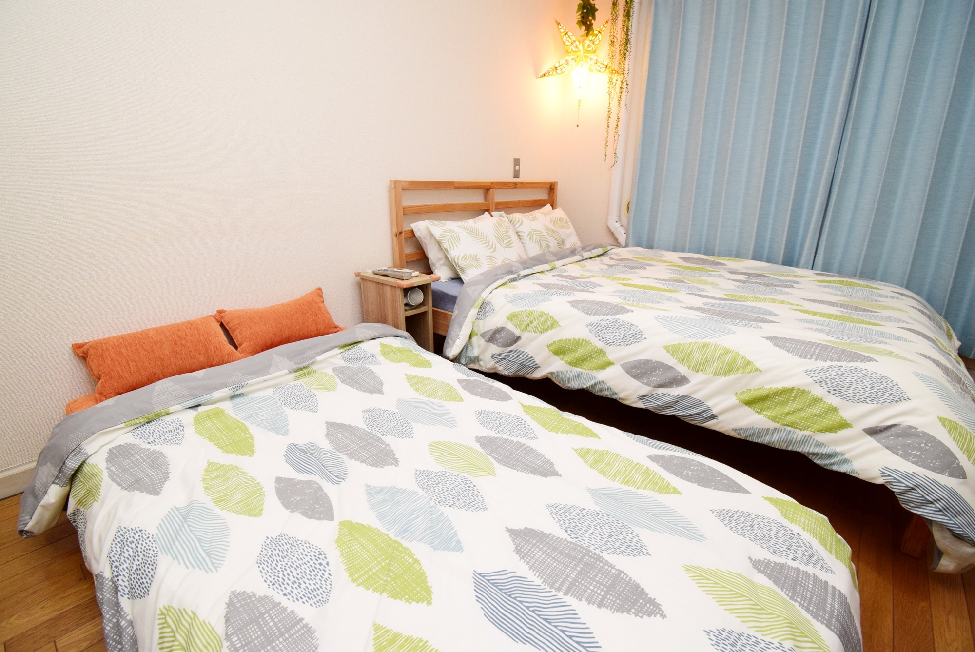 The main bed is a double size. The sofa bed is a large single size.