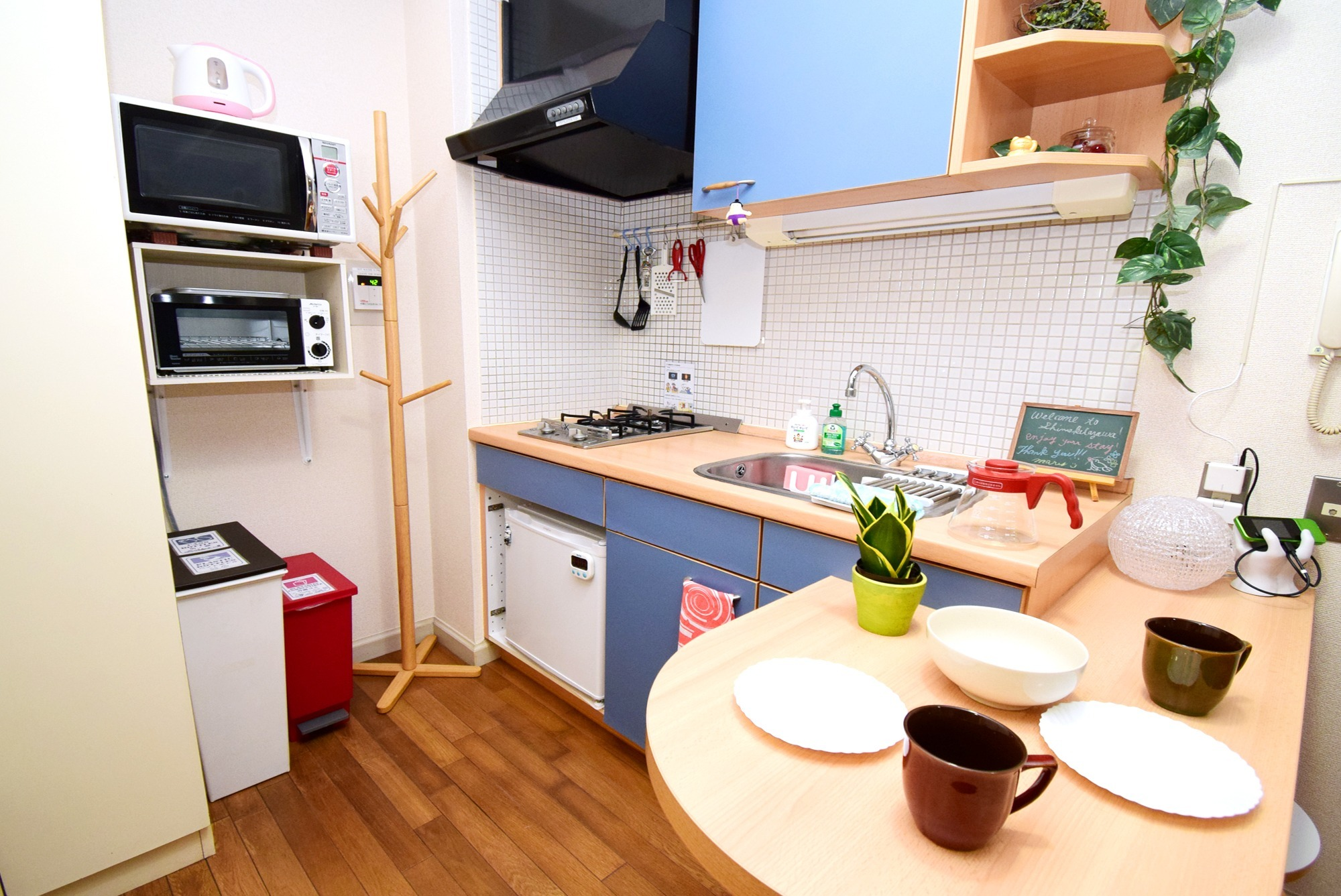 Enjoy cooking! Toaster, microwave, refrigerator and kitchen.