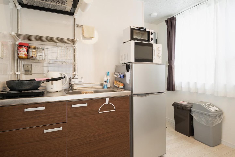 キッチンも完備、調理器具もあります^^
